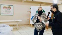 Gabriela, presidente da ACISFE e S�rgio da R�dio Vale Feliz