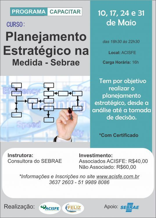 Curso Planejamento Estratégico na Medida, acontece dias 10,17,24 e 31 de Maio